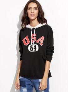 Color Block Letters Print Hooded Sweatshirt
