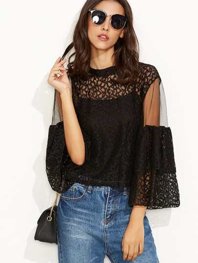 Black Lace Mesh Insert Keyhole Back Blouse With Cami Top