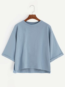 Blue Drop Shoulder Dip Hem Cuffed T-shirt