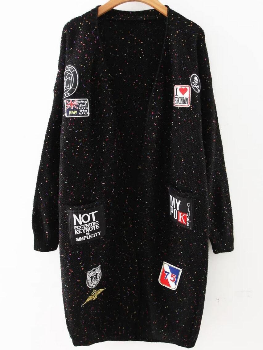 Black Patch Embellished Drop Shoulder Sweater Coat sweater160831228