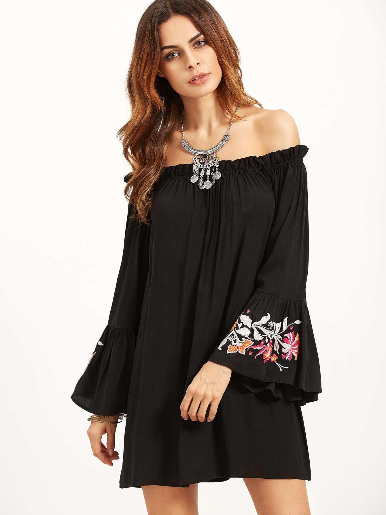 Black Embroidered Bell Sleeve Off The Shoulder DressBlack Embroidered Bell Sleeve Off The Shoulder Dress<br><br>color: Black<br>size: XS
