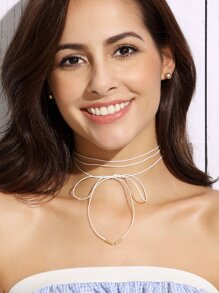 White Bow Fine Wrap Choker Necklace