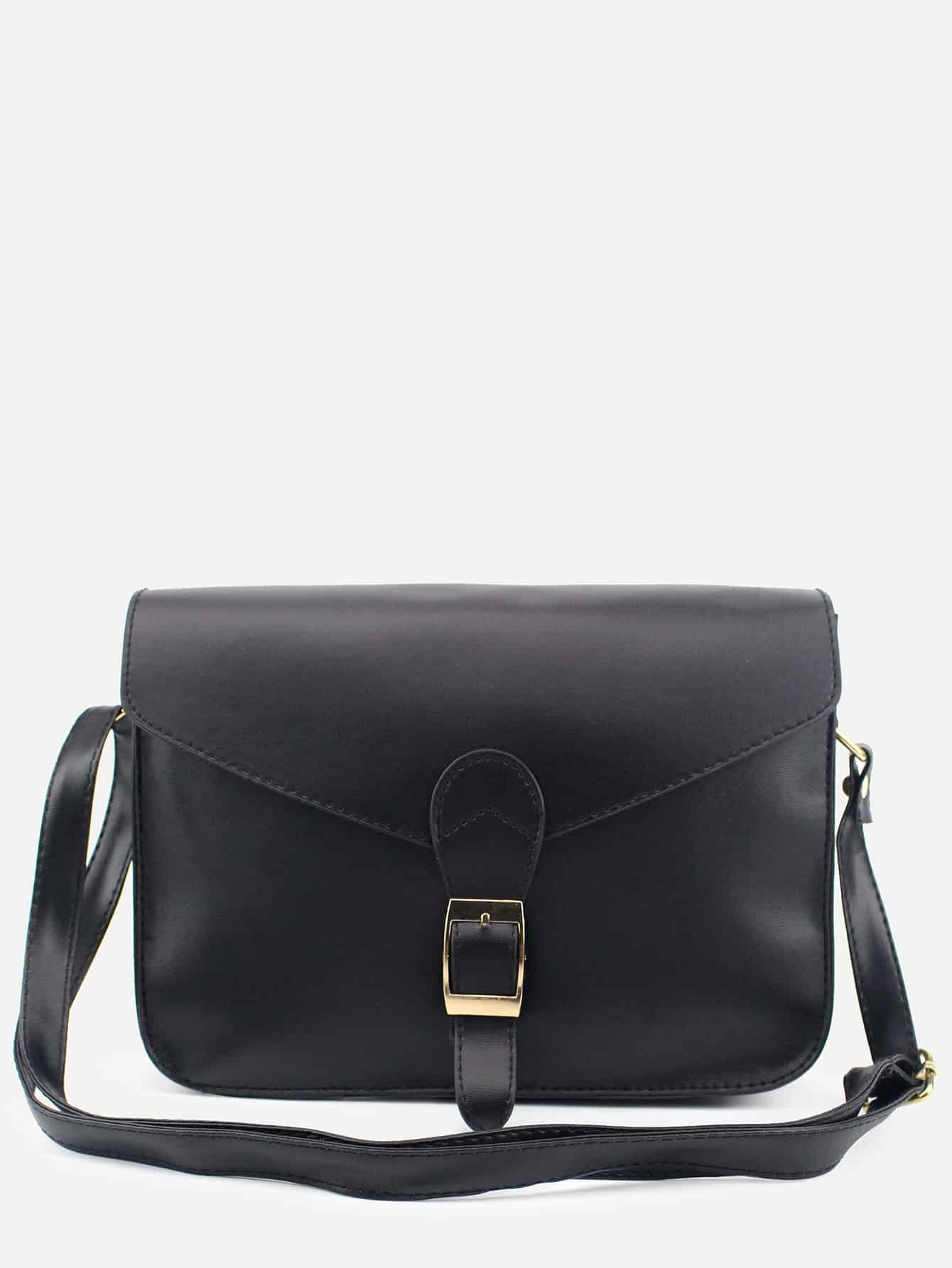 Black Buckle Strap Closure Envelope Crossbody Bag