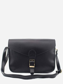 Black Buckle Strap Closure Envelope Crossbody Bag