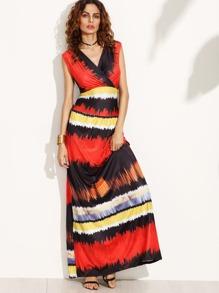 Tie Dye V Neck Wrap Dress