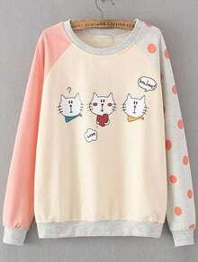 Color Block Cat Print Raglan Sleeve Sweatshirt