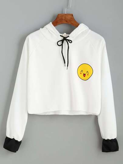 White Smile Print Contrast Cuff Drawstring Hooded Sweatshirt