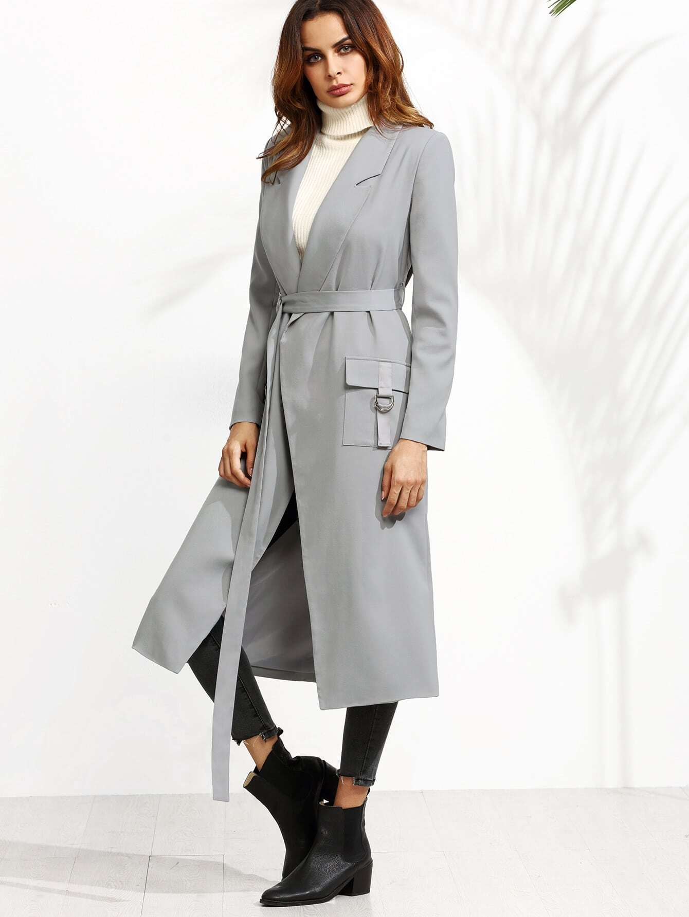 Grey Belted Duster Coat With Buckled Flap Pockets grey lapel collar duster coat with side pockets