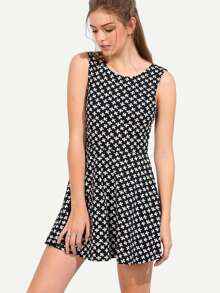 Black White Sleeveless Print U Back Dress