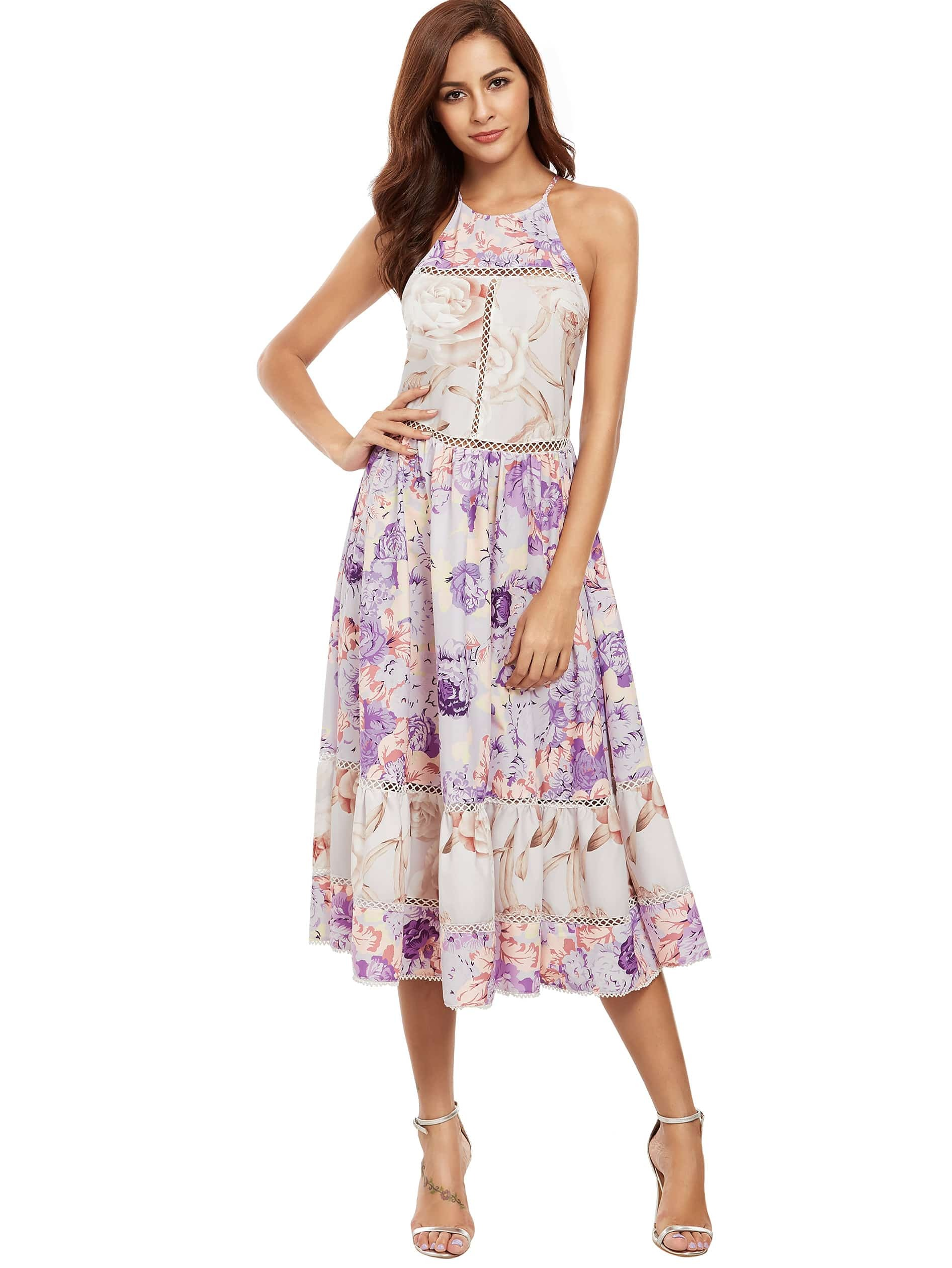 Фото Multicolor Print Ruffle Hem Flare Midi Dress. Купить с доставкой