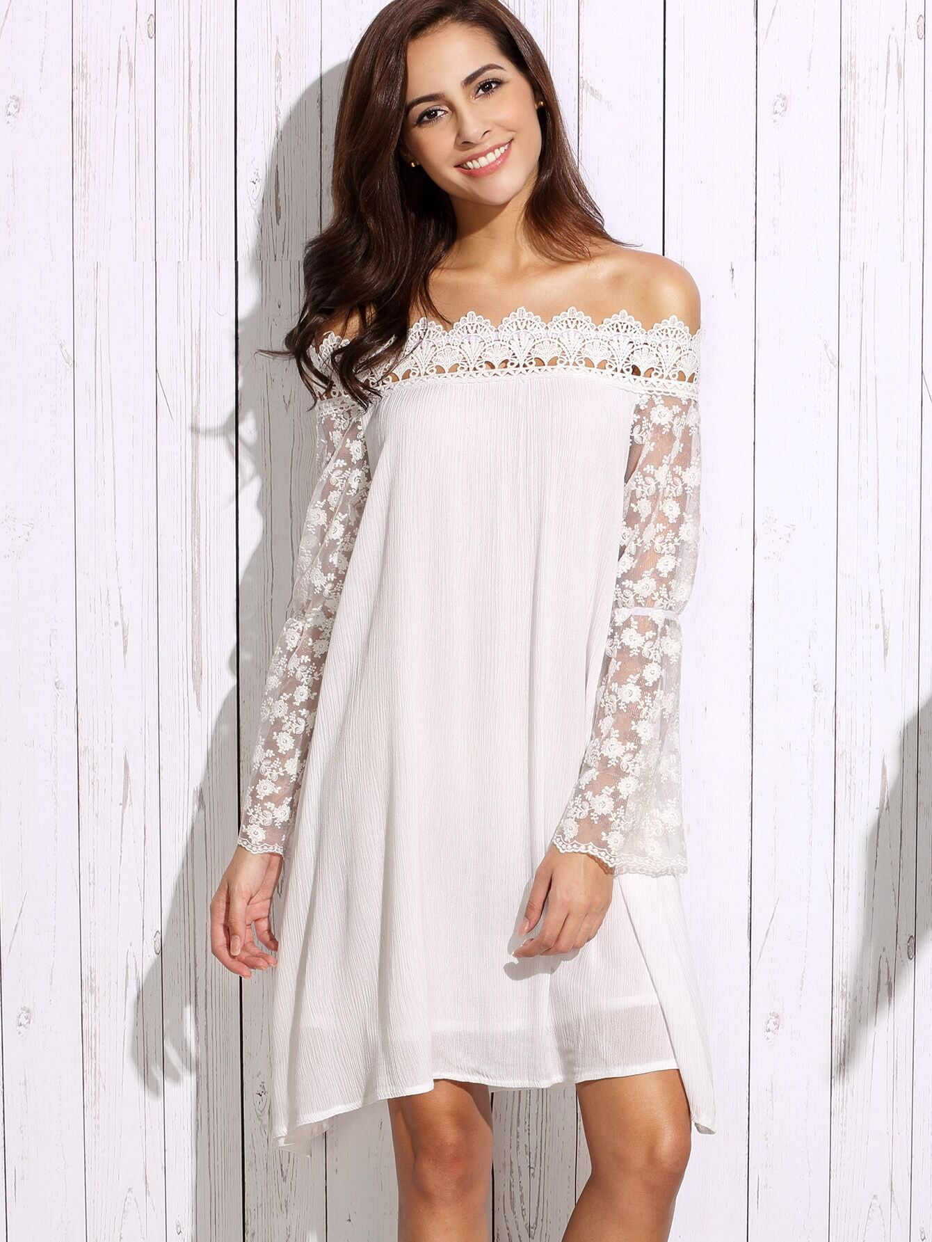 White off the shoulder appliques lace sleeve shift dress for Robe encolure bateau