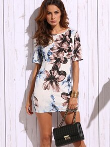White Flower Print Sheath Dress
