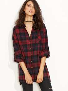 Burgundy Plaid Roll Tab Sleeve Slit Side Dip Hem Shirt