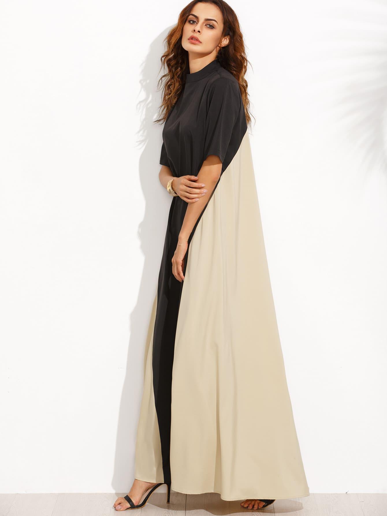 Color Block Mock Neck Floor Length Tent Dress color block full length tee dress