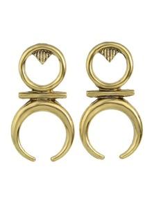 Antique Gold Vintage Geometric Hanging Stud Earrings