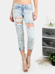 Light Blue Pocket Cutout Ripped Jeans