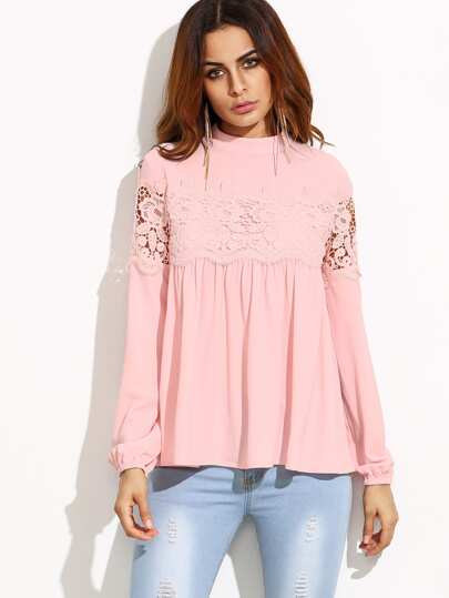 Mock Neck Lace Applique Babydoll Top