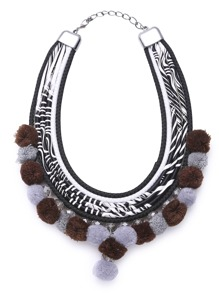 Multi Strand Pom Pom Statement Necklace