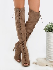 Lace Up Stiletto Thigh Boots TAUPE