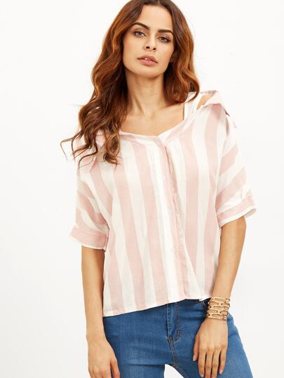 Pink Striped Contrast Open Shoulder High Low Blouse