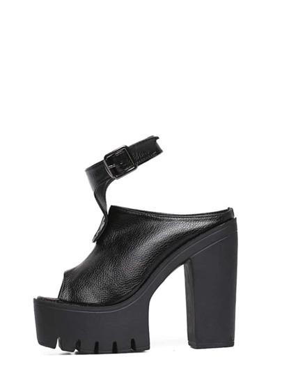 Sandali Piattaforma Con Cinturino Tacco Alto Toe Aperto - Nero