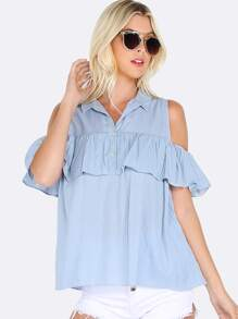Cold Shoulder Ruffle Button Up Top BLUE