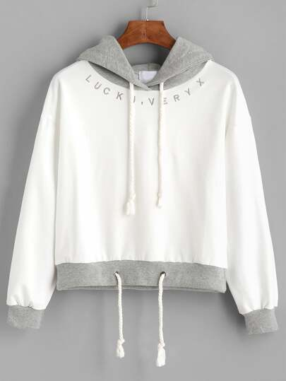 Contrast Letter Embroidered Drawstring Hoodie
