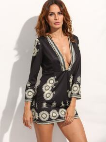 Black Deep V Neck Vintage Print Dress