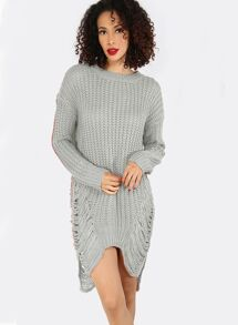 Grey Drop Shoulder Ripped High Low Sweater Dress