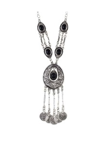 Black Tibetan Style Silver Color Imitation Turquoise Long Statement Necklace