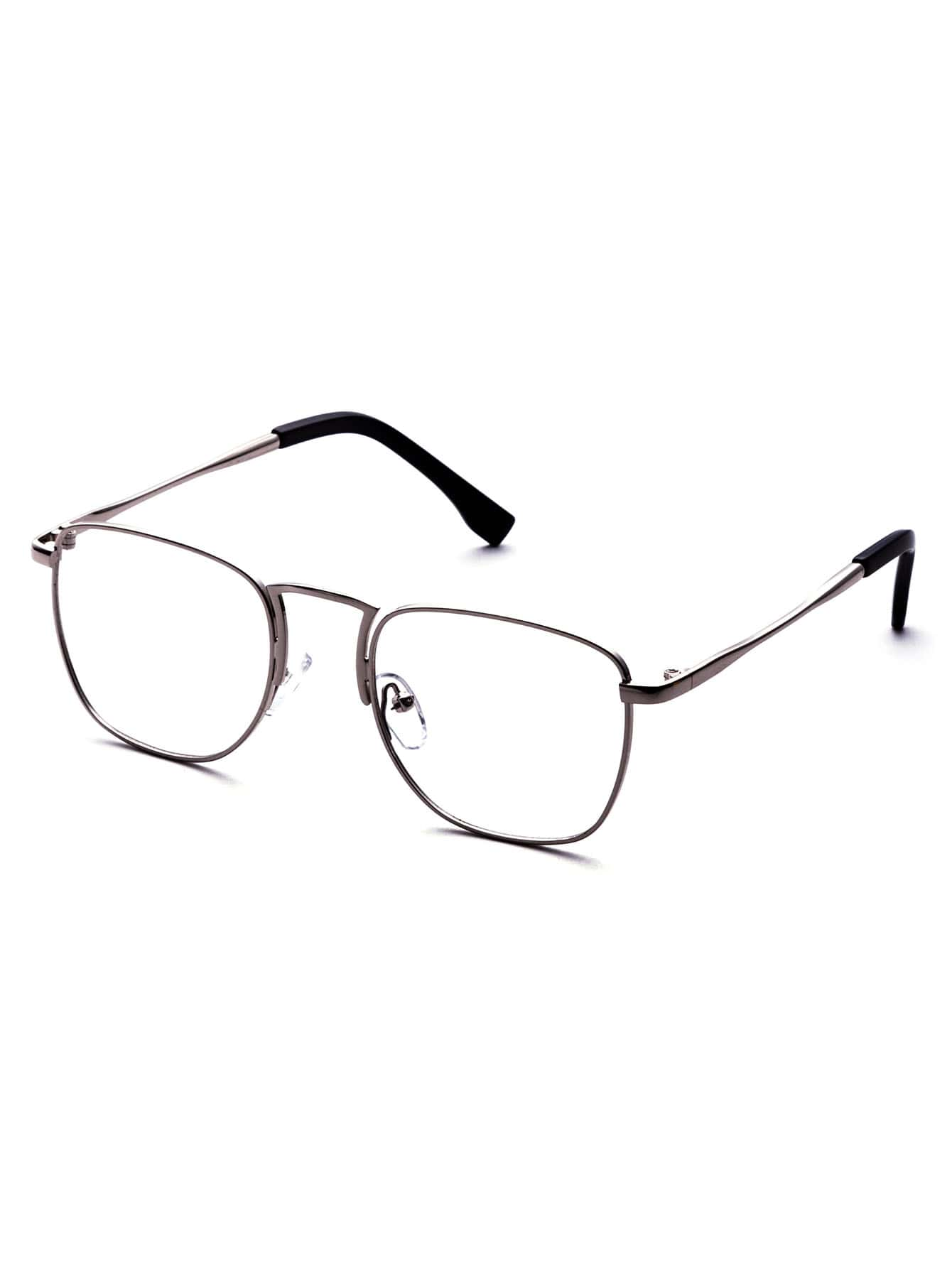 Silver Metal Frame Clear Lens GlassesSilver Metal Frame Clear Lens Glasses<br><br>color: Silver<br>size: None