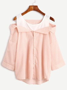 Gingham Contrast Open Shoulder Button Front Top