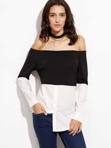 Black White Off The Shoulder Blouse