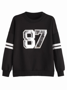 Black Numbers Patch Varsity Sweatshirt
