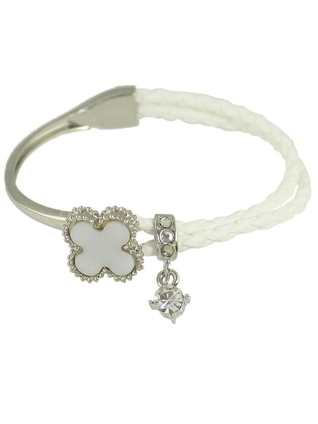 White Rhinestone Braided Pu Leather Chain Link Bracelet shambhala one diamond rhinestone bead ball nylon braided bracelet