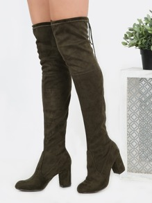 Drawstring Over the Knee Suede Boots OLIVE