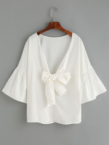 White Deep V Neck Bow Tie Front Bell Sleeve Top
