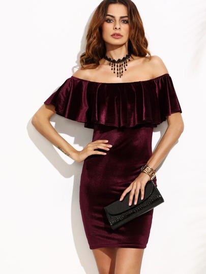 Flounce Layered Neckline Velvet Bodycon Dress