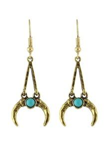 Antique Gold Vintage Design Moon Shape Long Pendant Earrings