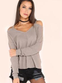 T-shirt tricoté manche longue épaules nues - kaki