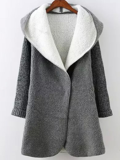 Contrast Sleeve Hooded Sweater Coat -SheIn(Sheinside)