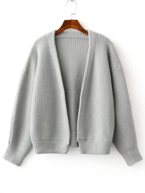 Grey Open Front Drop Shoulder Ribbed Chunky Sweater Coat sweater160818211