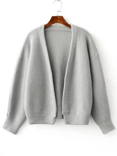 Grey Open Front Drop Shoulder Ribbed Chunky Sweater Coat -SheIn ...