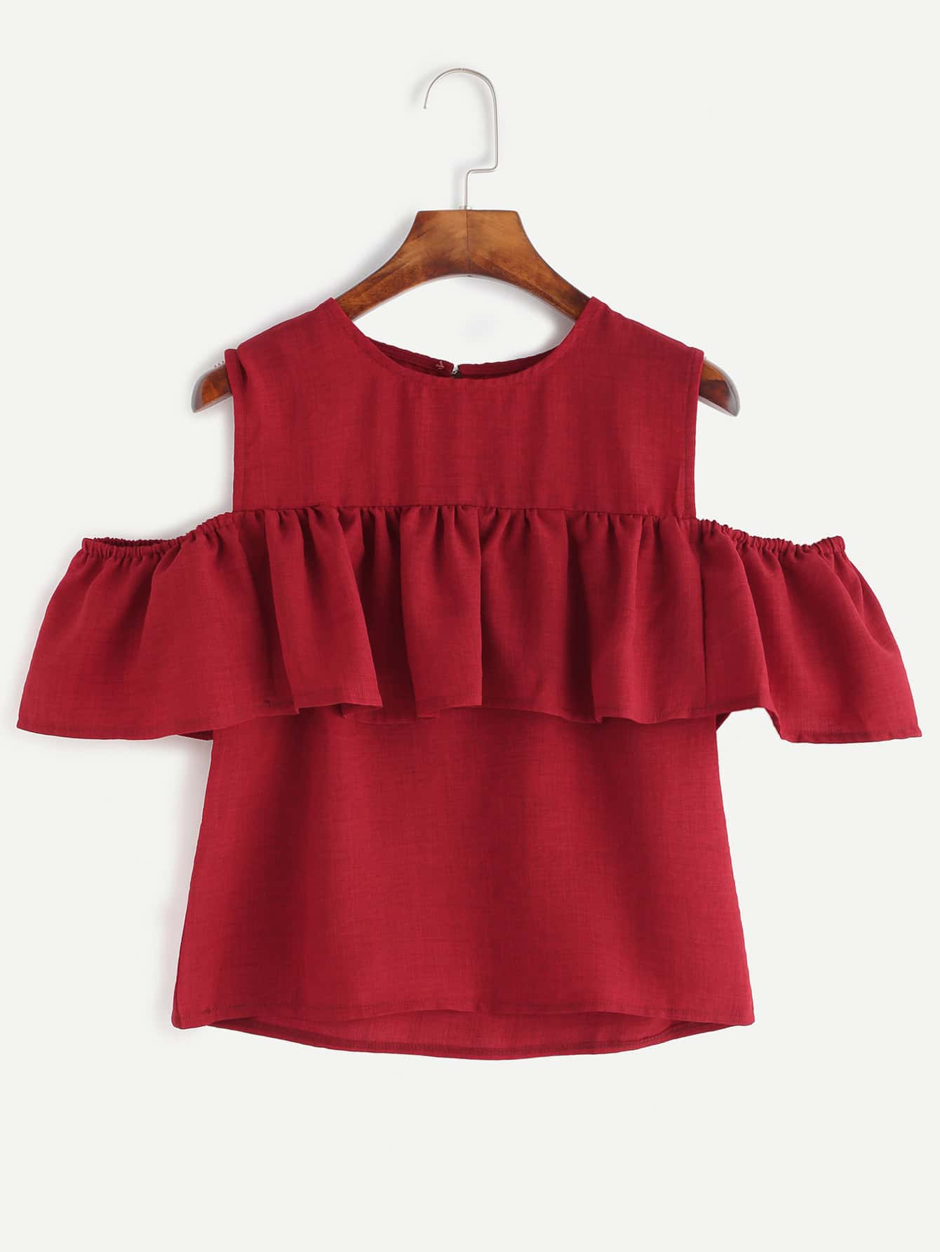 Frill Detail Open Shoulder Top pearl detail layered frill sleeve top