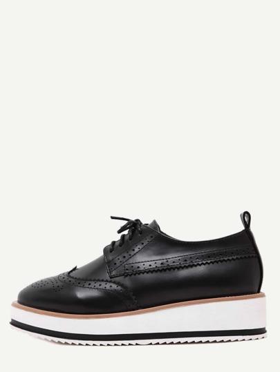 Black Wingtips Faux Leather Platform Oxford Shoes