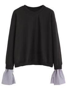 Black Contrast Striped Cuff Sweatshirt