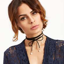 Black Bow Faux Pearl Wrap Choker Necklace