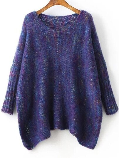 Navy Batwing Sleeve Asymmetrical Marled Knit Sweater