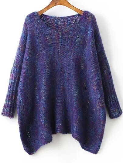 Batwing Sleeve Asymmetrical Marled Knit Sweater