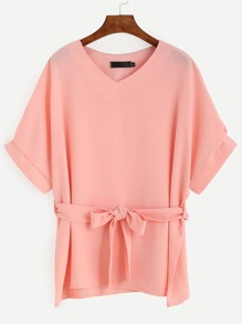 Pink Cuff Sleeve Self Tie Blouse